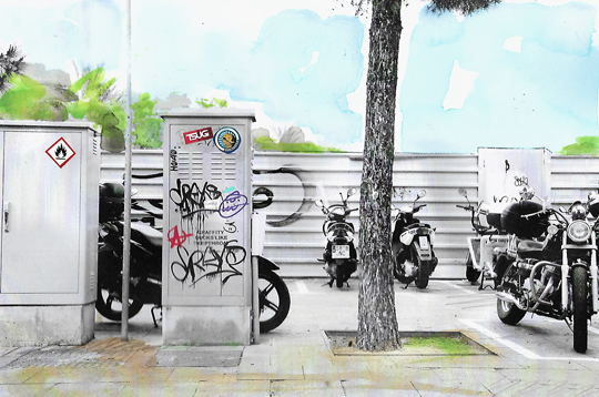Barcelone, graff et motos